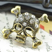 Punk Rock Rhinestone Skull Opening Ring