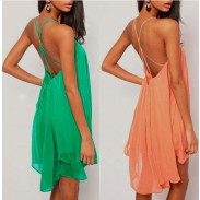 Sexy Spaghetti Strap Backless Hollow Chiffon Dress