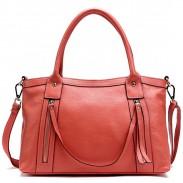 Retro Solid Motorcycle Double Zipper  Shoulder Bag Messenger Bag Handbag