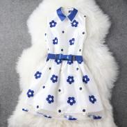 Elegant Embroidery Bow Belt Dress/Party Dress