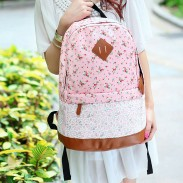 Fashion Pink Floral Print Lace Backpack