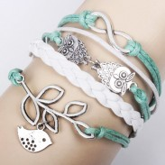 Lucky Olive Branch Infinity Owl Bracelet