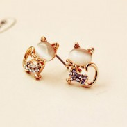 Cute Cat Opal Rhinestone Earrings Studs