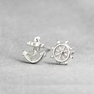 Navy Anchor Rudder Silver Earring Stud