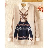 Sweet Rabbit Printing Long-sleeved Sweater&Cardiga