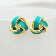 Geometry Spiral Multicolor Fashion Earrings Studs