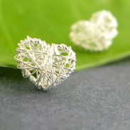 Sweet Heart Square Anti-allergy Studs Silver Wire Drawing Earring