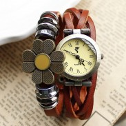 Retro Weave Sunflower Bracelet Watch