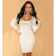 Sexy Rhinestones Rivet Fold Long-sleeved Dress