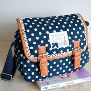 Fresh Polka-dot Print Lace Messenger Bag