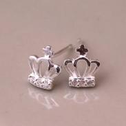 Cute Crown Silver Earring Stud