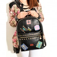 Punk Cute Rivets Badge School Backpack