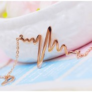 ECG Heart 18K Rose Gold Necklace/Birthday Gift