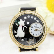 Cute Cat Crown Pearl Rhinestone Trim Watch