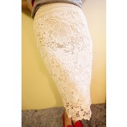 Package Hip Skirt Lace Hollow Soluble Slim Waist Pencil Skirt