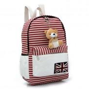 Cute UK Flag Striped Bear Doll Canvas Backpack