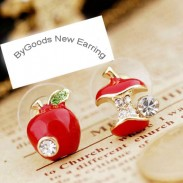 Cute Asymmetry Rhinestone Apple Earrings