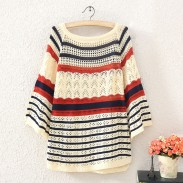 Fashion Hollow Wave Striped Sweater&Cardigan