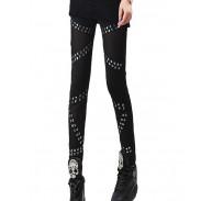 Vintage Rivets Stitching Mesh Pants& Leggings