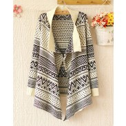 Elegant Geometry Printed Irregular Sleeved Sweater&Cardigan