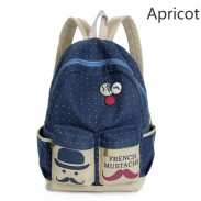 Fresh French Mustache Polka Dot Canvas Backpack