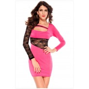 New Nice Lace Sleeve Gauze  Straps Slim Dress