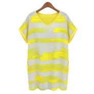 Fresh Stripe Splice Easing Dress