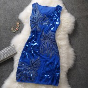 Sequined Embroidered Sleeveless Formal Dress
