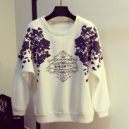 Stylish Floral Letter Print O-neck Raglan Sleeves Girls Loose Casual Top