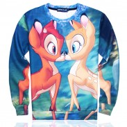 Cute O-neck Cartoon Kiss Deers Pattern Long Sleeve Loose Top