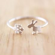 Cute Santa's elk Snowflake 925 Silver Opening Ring