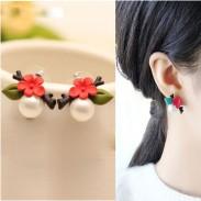 Original Shell Pearl Flower Leaves Twig Resin Cute Earrings