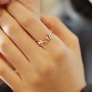 Rhinestone Music Notes Threaded Fashion Opening Adjustable Ring