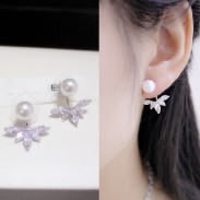 Dual Ladies Luxury Winky Zircon Petal Pearl Noble Female Earrings