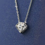 Silver Hollow Diamond Shining Zircon Pendant Chain Necklace