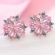 Lovely Diamond-bordered Cherry Sweet Style Dating Silver Student Girl's Zircon Earrings Studs