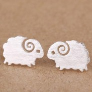 Cute Little Lamb Pure Silver Stud Earrings