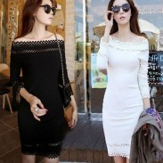 Bodycon Floral Hollow Boat Neck Long Sleeve Dresses