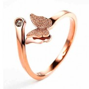 Unique Vivid Double Layer Frosted Butterfly Animal Rose Gold Girl's Open Ring