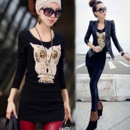 Lovely Owl Sequins Velvet Long Sleeve Tops Bottoming Shirt