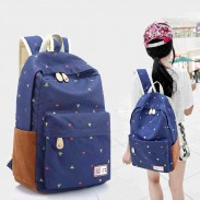 Leisure Cute Floral Print Canvas Bag Backpack
