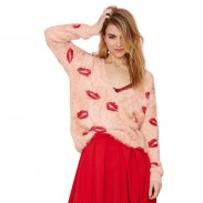 Sexy Saucy Embroidered Lips Batwing Sleeve Mohair Loose Deep V-neck Sweater