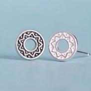 Folk Style Solar Totem Round 925 Silver Couple Earrings