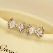 Fashion Zircon Rhinestone Bow Stud Earrings