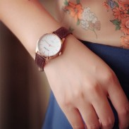 Retro Disc Leather Belt Students Brief Design Watches