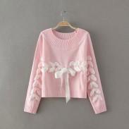 Sweet O-neck Weave Ribbon Raglan Sleeve Bow Knit Loose Short  Sweater