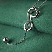 Elegant Hollow Cat Kitten Ball Long Tail Animals Silver Pendant Necklace