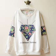College Style Diamond Floral Print Long Sleeve Sweater
