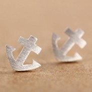 Cute Little Anchor Silver Ear Studs