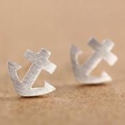 Cute Little Anchor Silver Ear Studs
